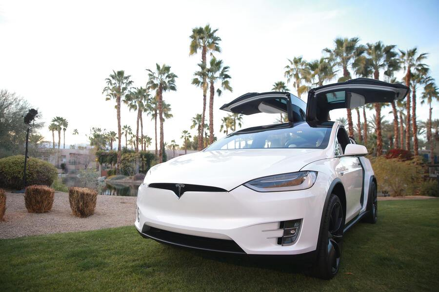 INDIAN WELLS, CA - MARCH 05:  A Tesla Model X is displayed during the Citi Taste of Tennis at Hyatt Regency Indian Wells Resort & Spa on March 5, 2018 in Indian Wells, California.  (Photo by Rich Fury/Getty Images for AYS Sports Marketing)