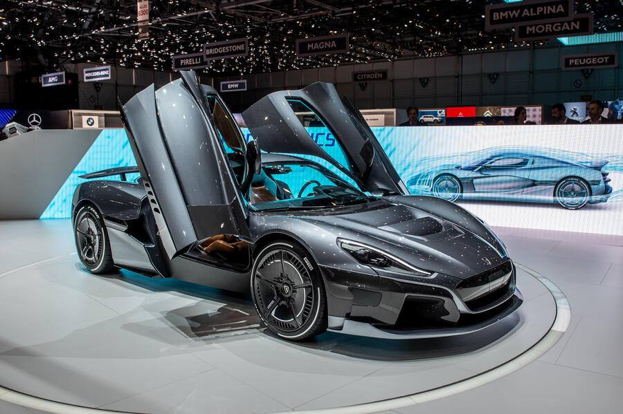GENEVA, SWITZERLAND - MARCH 07: Rimac C Two Electric Hypercar is displayed at the 88th Geneva International Motor Show on March 7, 2018 in Geneva, Switzerland. Global automakers are converging on the show as many seek to roll out viable, mass-production alternatives to the traditional combustion engine, especially in the form of electric cars. The Geneva auto show is also the premiere venue for luxury sports cars and imaginative prototypes. (Photo by Robert Hradil/Getty Images)