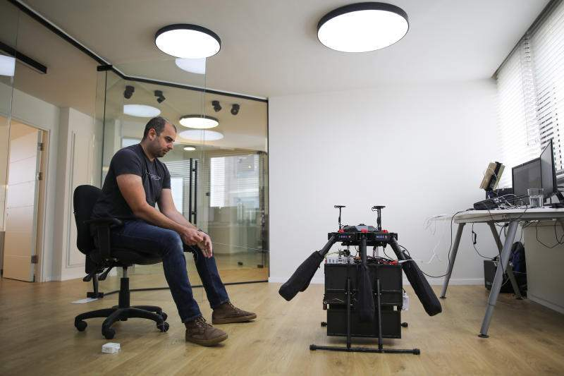 System engineer Roman Dvorkin, 32, simulates a drone delivery in the control room at Flytrex, a startup working on an on-demand drone delivery service, in Tel Aviv, February 27, 2019.