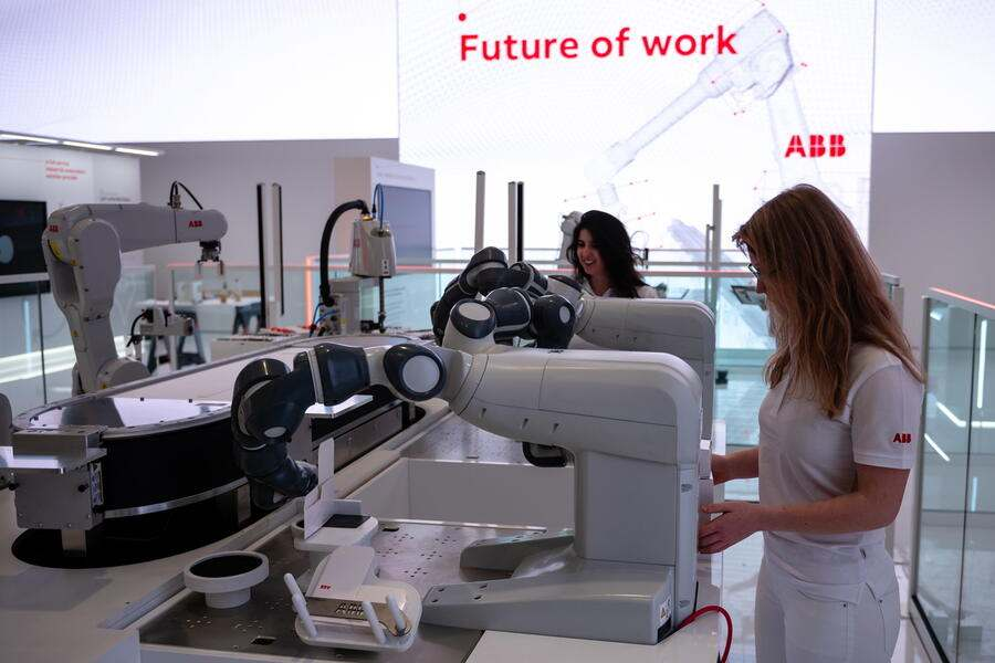 epa07476442 A robot at the fair stand of the company 'ABB' at the Hannover Industry Fair (Hannover Messe) in Hanover, Germany, 31 March 2019. From 01 April to 05 April, 6,500 exhibitors from 75 countries show their products during one of the World's leading fairs for industrial goods. Main focus of the Hannover Messe 2019 is on Artificial Intelligence and the new mobile standard 5G. EPA/JENS SCHLUETER