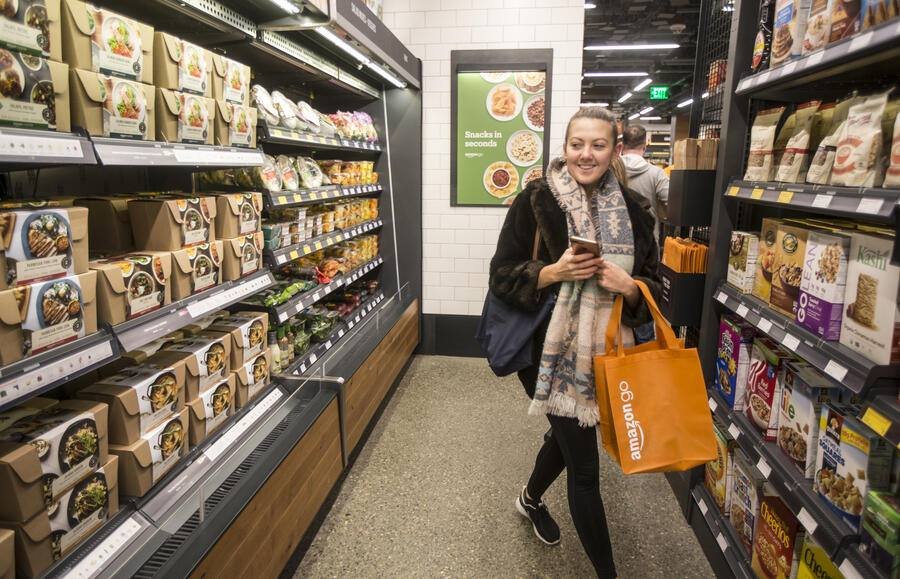 SEATTLE, WA - JANUARY 22: Shopper Ela Ustel walks through the Amazon Go store, on January 22, 2018 in Seattle, Washington. After more than a year in beta Amazon opened the cashier-less store to the public. (Photo by Stephen Brashear/Getty Images)
