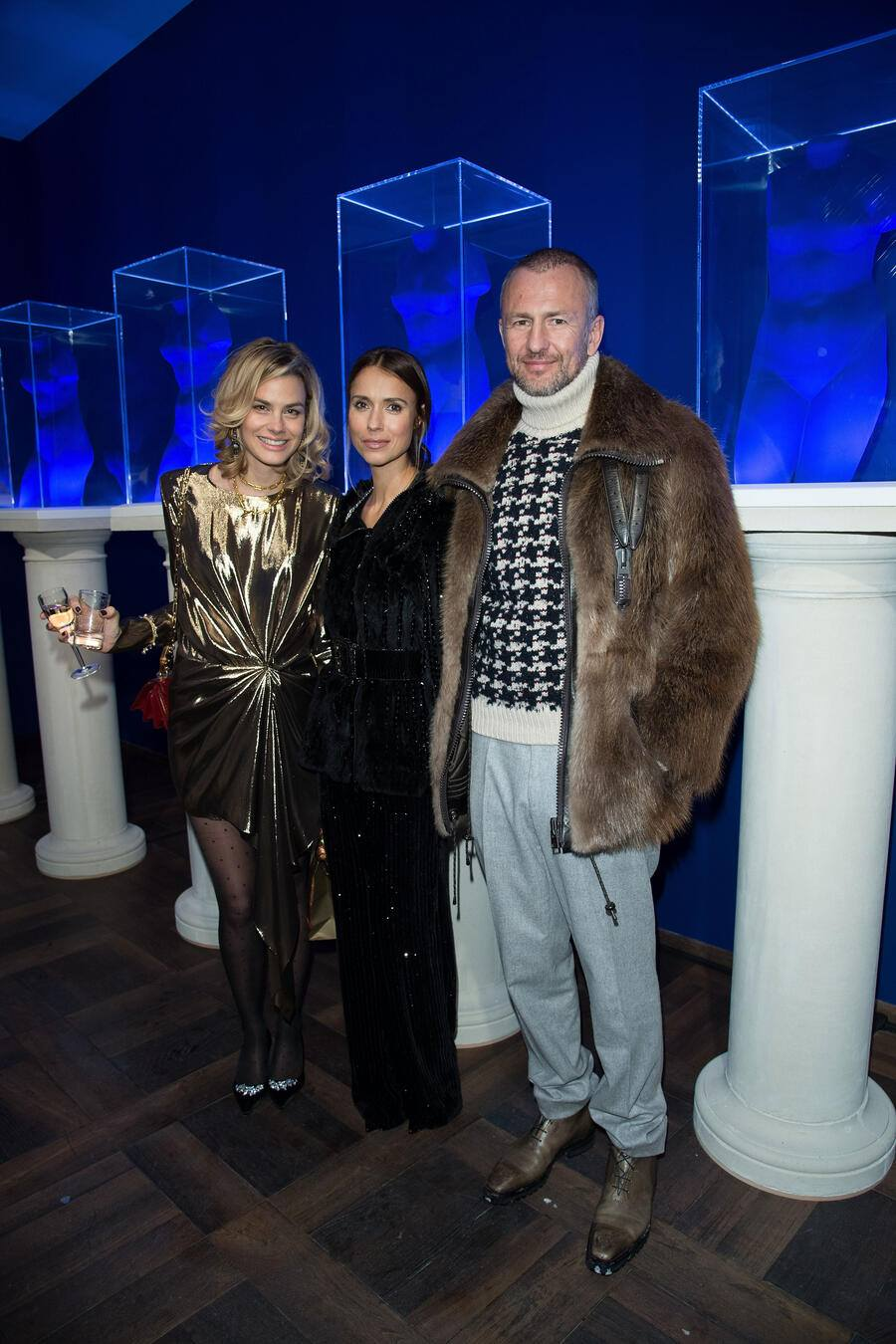 ST MORITZ, SWITZERLAND - DECEMBER 27:  Isabelle Bscher, Aleksandra Melnichenko and Andrey Melnichenko attend Galerie Gmurzynska Hosts Diana Widmaier-Picasso in Celebration of Mene 24K and Yves Klein on December 27, 2017 in St Moritz, Switzerland.  (Photo by Venturelli/Getty Images)