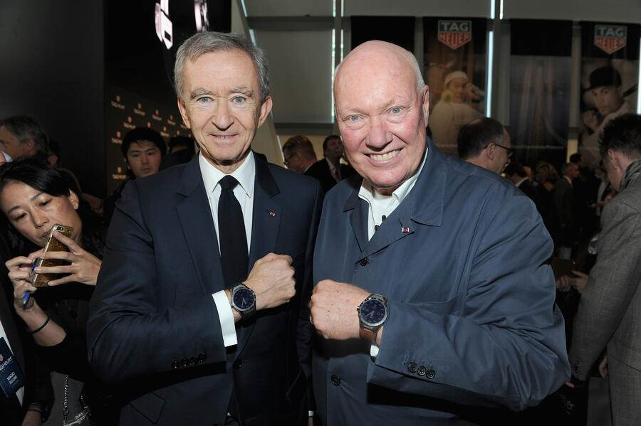 NEW YORK, NY - NOVEMBER 09:  Bernard Arnault and Jean-Claude Biver attend the TAG Heuer Connected Watch event on November 9, 2015 in New York City.  (Photo by Craig Barritt/Getty Images for Tag Heuer)