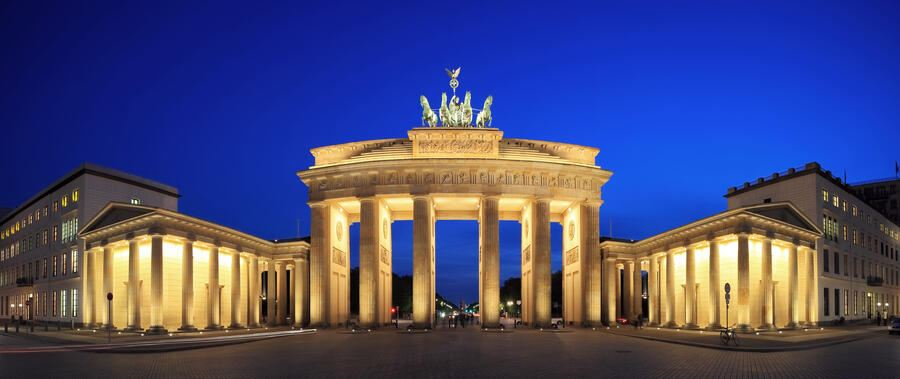 The famous place in Berlin -rarely without any people and without any event blue hour panorama shot