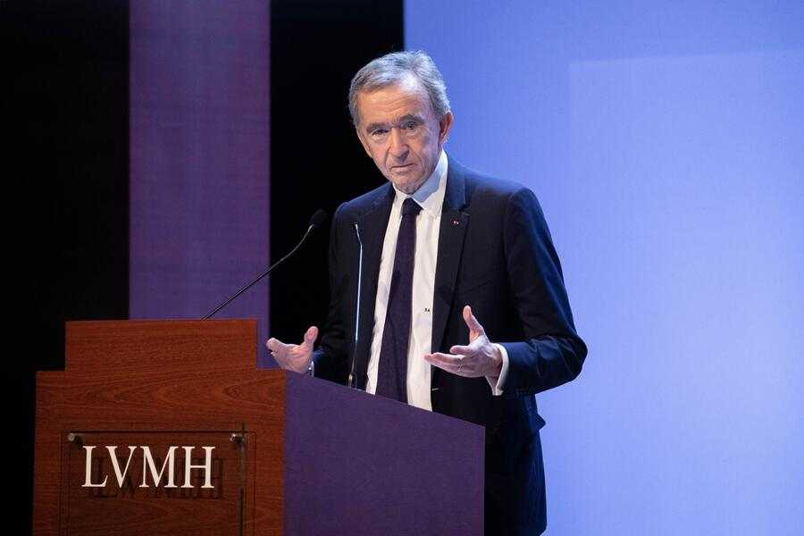 Bernard Arnault, billionaire and chief executive officer of LVMH Moet Hennessy Louis Vuitton SE, speaks as the luxury brand announces full year earnings in Paris, France, on Tuesday, Jan. 28, 2020. LVMH's sales growth slowed in the fourth quarter as protests in Hong Kong dented Chinese demand for the luxury giant's products at the end of a strong year. Photographer: Christophe Morin/Bloomberg