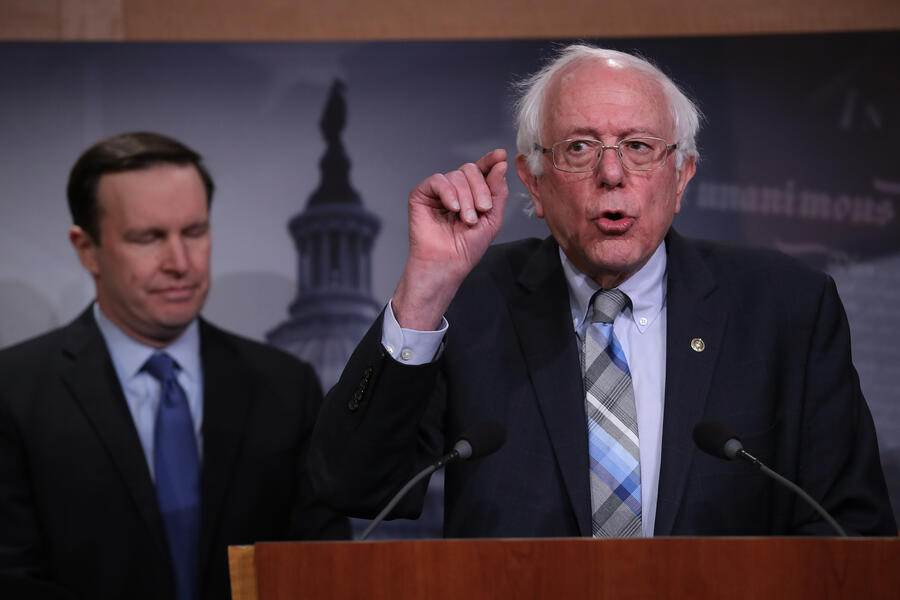 "WASHINGTON, DC - JANUARY 30:  Sen. Bernie Sanders (I-VT) speaks during a press conference at the U.S. Capitol January 30, 2019 in Washington, DC. Sanders and other members of the U.S. Senate and House of Representatives called for the reintroduction of a resolution ""to end U.S. support for the Saudi-led war in Yemen"" during the press conference. Also pictured is Sen. Chris Murphy (D-CT). (Photo by Win McNamee/Getty Images)"