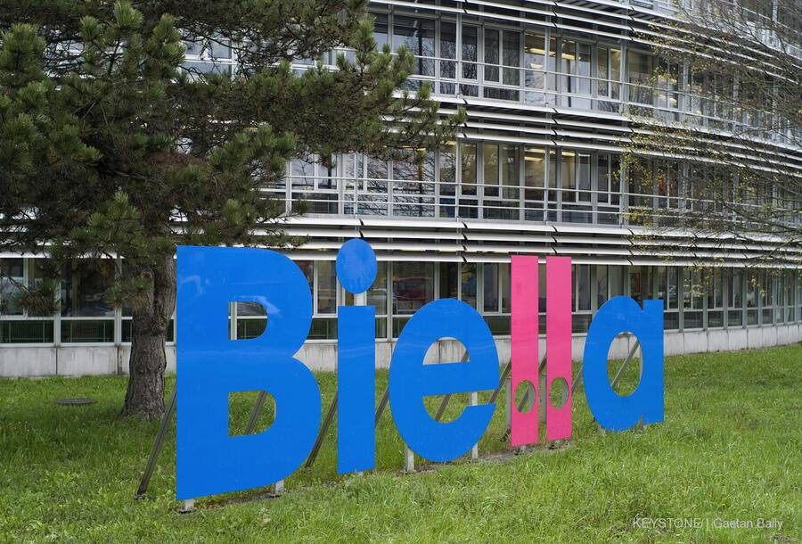 "The sign of the company Biella in front of the company domicile in Bruegg near Biel-Bienne, Switzerland, pictured on April 14, 2008. Biella Switzerland is the largest producer of office supplies in Switzerland. The notepad and paper products factory Biel-Bienne opened in 1900, and the Biella brand name was adopted as the name of the company in 1945. The first arch file, the so-called ""Bundesordner"", was produced in 1908. (KEYSTONE/Gaetan Bally)"