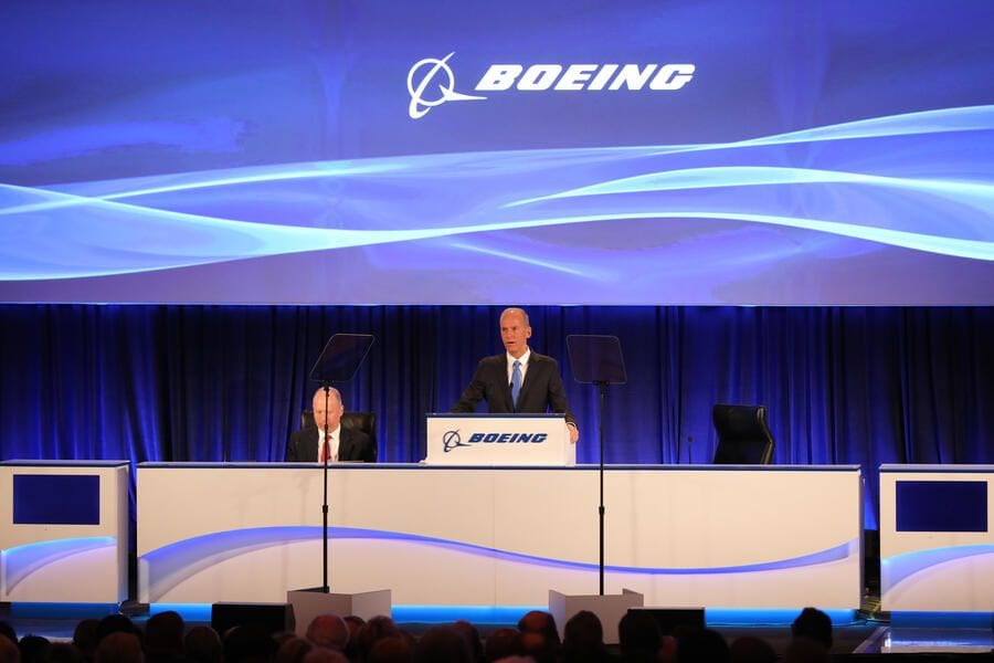 CHICAGO, IL - APRIL 29: Boeing Chief Executive Officer Dennis Muilenburg speaks at the Boeing Annual Shareholders Meeting on April 29, 2019 in Chicago, Illinois. Boeing announced earnings fell 21 percent in the first quarter after multiple crashes of the company's bestselling plane the 737 Max. (Photo by John Gress-Pool/Getty Images)