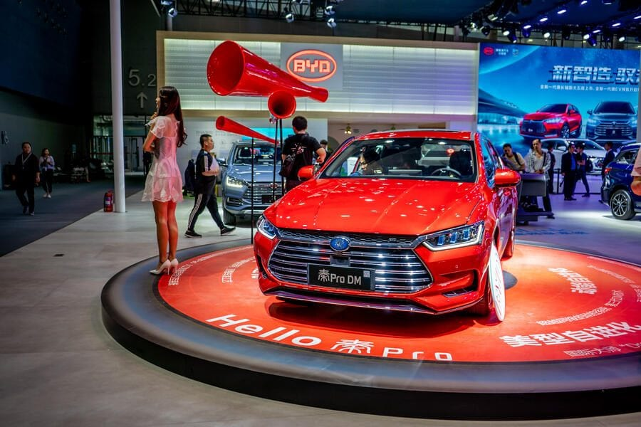 GUANGZHOU, CHINA - NOVEMBER 16: A BYD Pro DM car is on display during the 16th Guangzhou International Automobile Exhibition at China Import and Export Fair Complex on November 16, 2018 in Guangzhou, Guangdong Province of China. The exhibition will run from November 16 to 25, with the theme of 'New Technology - New Life'. (Photo by VCG/VCG via Getty Images)