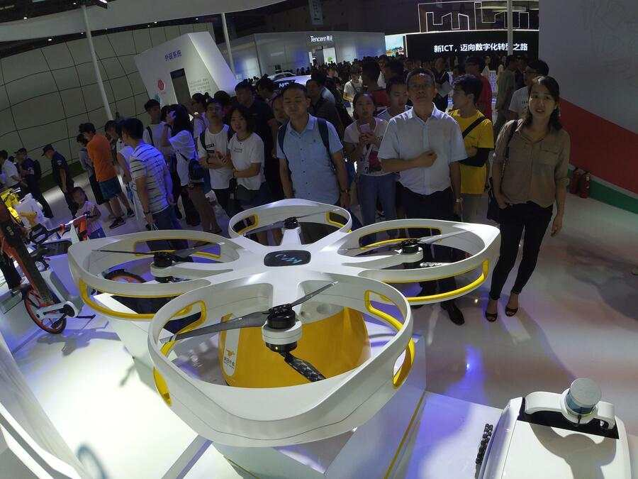 A view of the unmanned aerial vehicle co-developed by Meituan Dianping and Neolix (a China-based unmanned logistic vehicle developer) at the China Smart Expo 2018 in southwest China's Chongqing Municipality Thursday, Aug. 23, 2018.PHOTOGRAPH BY Feature China / Barcroft Images (Photo credit should read Feature China / Barcroft Images / Barcroft Media via Getty Images)