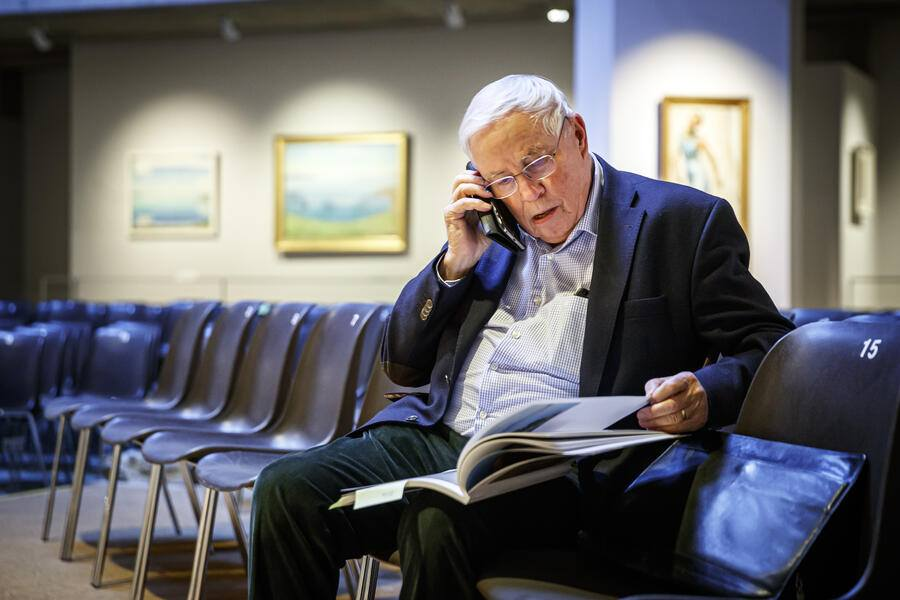 "Former Swiss Federal councilor Christoph Blocher makes a phone call prior to a media visit of the exhibition of his collection entitled ""Chefs-d'oeuvre suisses"" (Swiss masterpieces in French) at the Fondation Pierre Gianadda in Martigny, Switzerland, Friday, December 6, 2019. (KEYSTONE/Valentin Flauraud)"