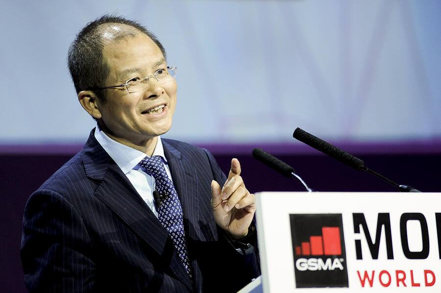 BARCELONA, SPAIN - FEBRUARY 28: Eric Xu ( Xu Zhijun), Deputy Chairman of the Board and rotating CEO of Huawei, giving a conference during the Mobile World Congress, on February 28, 2017 in Barcelona, Spain. (Photo by Joan Cros Garcia/Corbis via Getty Images)