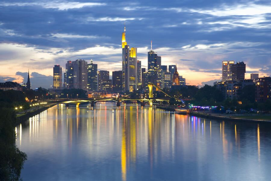 Frankfurt am Main, home to the German Stock Exchange and European Central Bank, ranks amongst the world's most important financial centres. The high-rise city skyline, famously known as Mainhattan, is best seen illuminated after dark, reflected in the River Main.