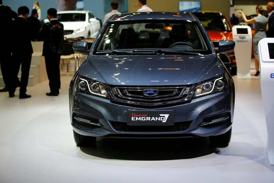 MOSCOW, RUSSIA - AUGUST 29: Geely Emgrand is being displayed at the 2018 Moscow International Motor Show at the Crocus Expo exhibition center in Moscow, Russia on August 29, 2018.  (Photo by Sefa Karacan/Anadolu Agency/Getty Images)