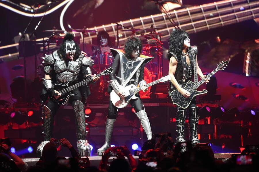 UNIONDALE, NEW YORK - MARCH 22:  Gene Simmons, Eric Singer, Tommy Thayer, Paul Stanley of the band KISS perform on stage during KISS End Of The Road World Tour at Nassau Coliseum on March 22, 2019 in Uniondale, New York. (Photo by Kevin Mazur/Getty Images)