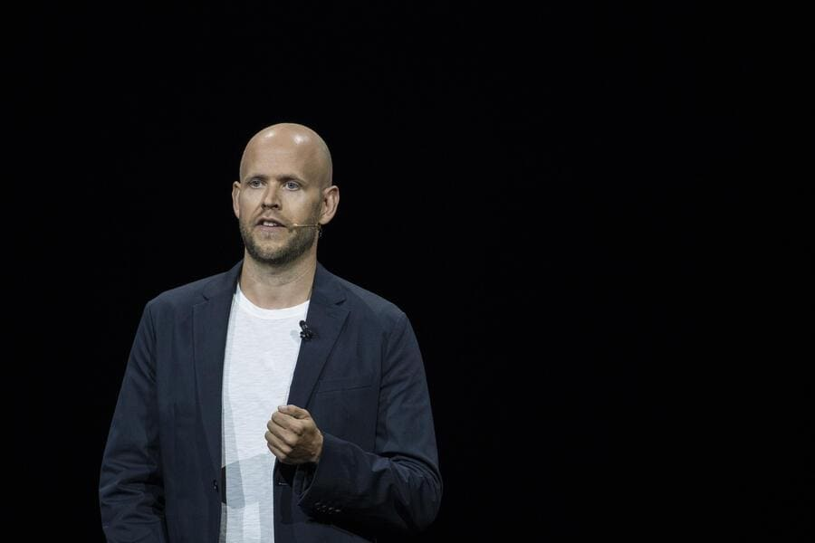 NEW YORK, NY - AUGUST 9: Daniel Ek, chief executive officer of Spotify, speaks about a partnership between Samsung and Spotify during a product launch event at the Barclays Center, August 9, 2018 in the Brooklyn borough of New York City. The new Galaxy Note 9 smartphone will go on sale on August 24. (Photo by Drew Angerer/Getty Images)