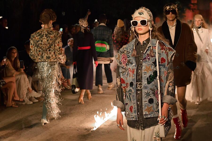 ARLES, FRANCE - MAY 30:  A model walks the runway at the Gucci Cruise 2019 show at Alyscamps on May 30, 2018 in Arles, France.  (Photo by Jacopo Raule/Getty Images  )