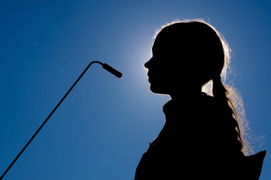 Greta Thunberg, climate and environmental activist, while speaking in Lisbon, Portugal, after arriving at the portuguese capital port after sailing the Atlantic