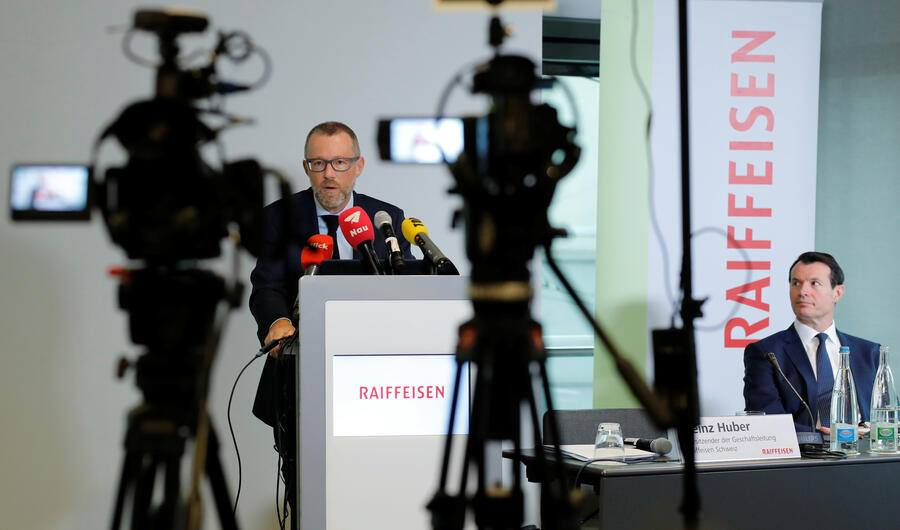 President Guy Lachappelle is seen as CEO Heinz Huber of Swiss Raiffeisen Schweiz bank addresses the annual news conference in Zurich, Switzerland March 1, 2019.   REUTERS/Arnd Wiegmann - RC1484E2C8E0
