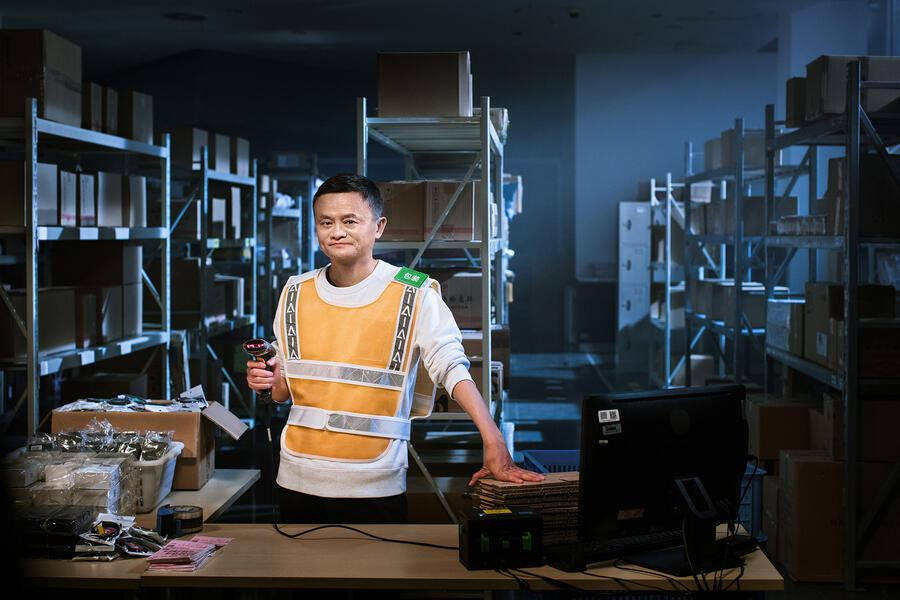 Jack Ma or Ma Yun, chairman of Alibaba Group, prepares to challenge Chinese woman Hu Meiju, a star worker at a distribution center of Alibaba's logistics services Cainiao Network, as a part of the Tmall 11.11 Global Shopping Festival 2018 in Shanghai, China, 5 November 2018.