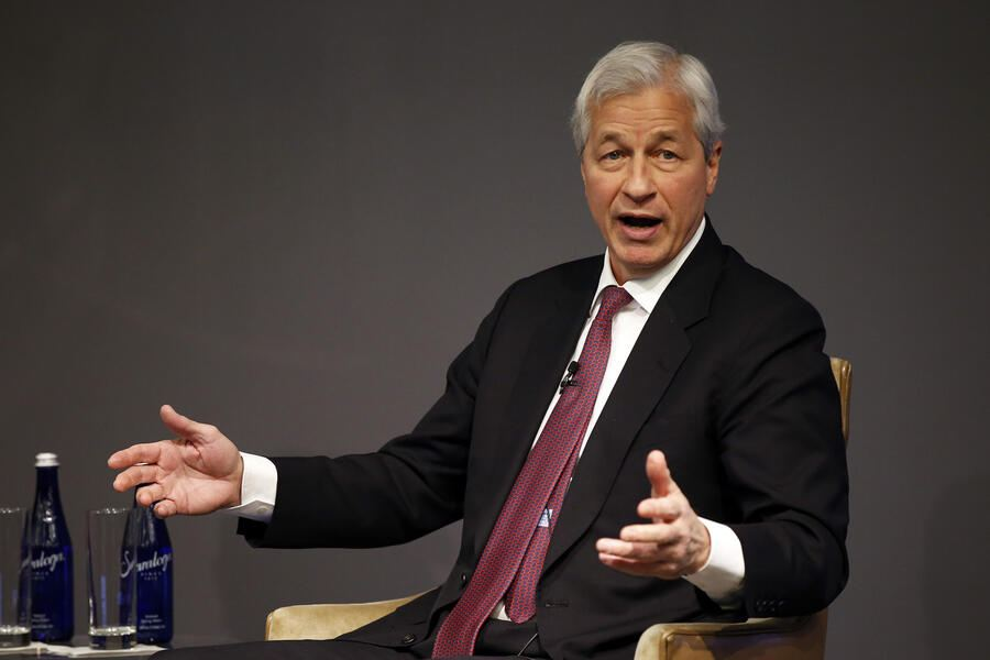 Jamie Dimon, Chairman and CEO, JPMorgan Chase, discusses Future of Work at JPMorgan Chase event on Monday, March 18, 2019 in New York. (Adam Hunger/AP Images for JPMorgan Chase & Co. )