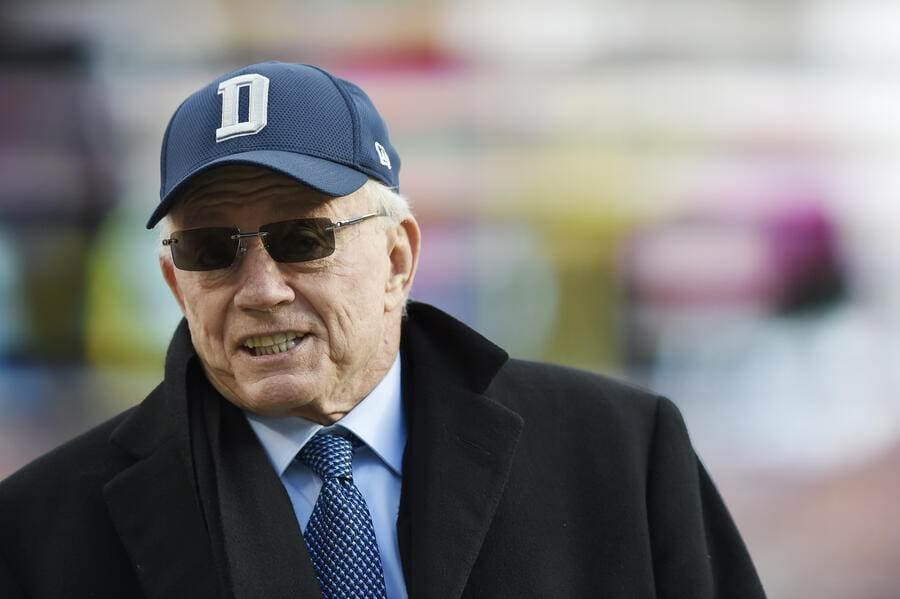 LANDOVER, MD - OCTOBER 21: Owner Jerry Jones of the Dallas Cowboys stands on the field before a game between the Dallas Cowboys and Washington Redskins at FedExField on October 21, 2018 in Landover, Maryland. (Photo by Patrick McDermott/Getty Images)