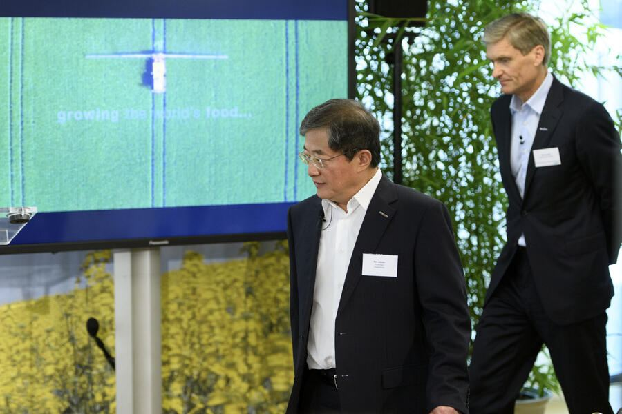 "Ren Jianxin, left, chairman of ChemChina and futur  Chairman of Syngenta and Erik Fyrwald, right, CEO of Syngenta arrive for a press conference of Syngenta after its acquisition by ChemChina, in Basel, Tuesday, June 27, 2017. The China National Chemical Corporation, or ""ChemChina"" has acquired the worlds biggest producer of agricultural chemicals, the Swiss agribusiness company Syngenta AG. (KEYSTONE/Laurent Gillieron)"