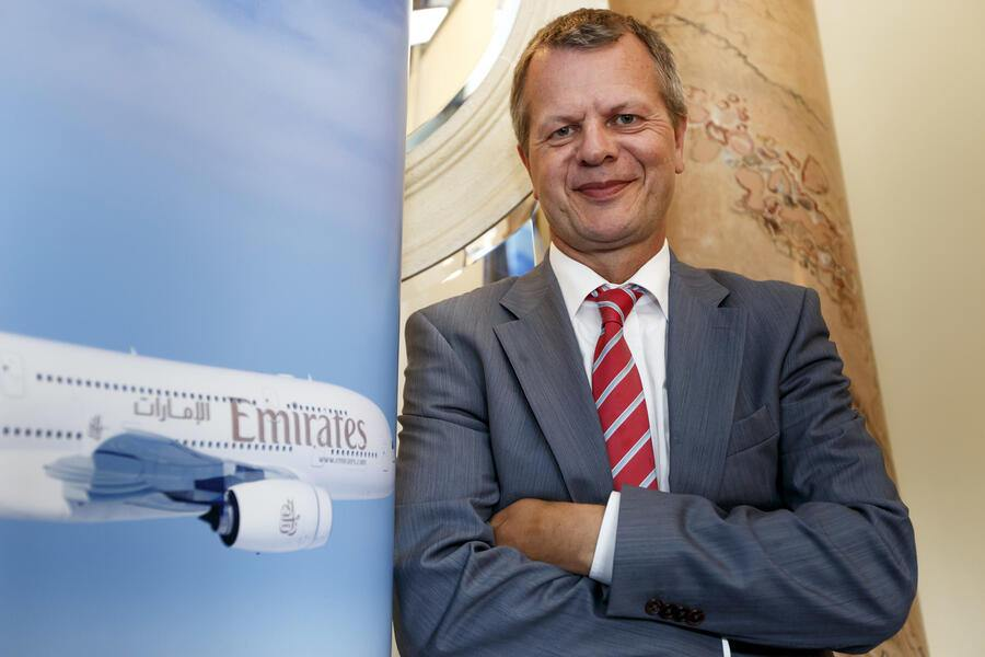 Juerg Mueller, General director of Emirates Airlines for Switzerland, poses for the photographer, in Geneva, Switzerland, Tuesday, July 29, 2014. (KEYSTONE/Salvatore Di Nolfi)