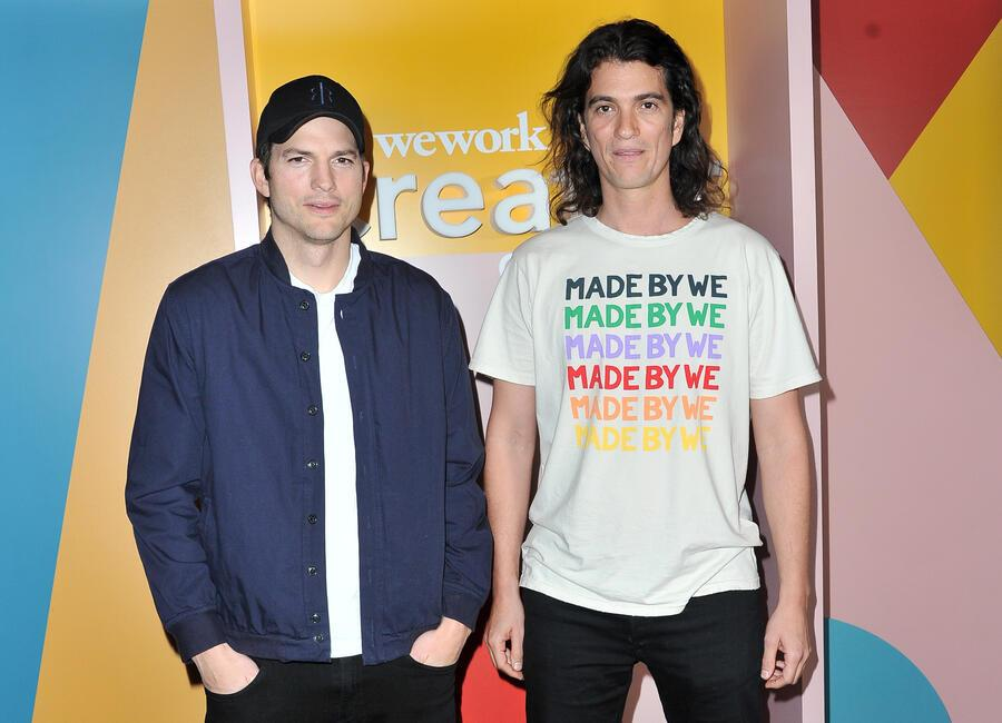 LOS ANGELES, CALIFORNIA - JANUARY 09: Ashton Kutcher (L) and Adam Neumann attend WeWork Creator Awards Global Finals at Microsoft Theater on January 09, 2019 in Los Angeles, California. (Photo by Allen Berezovsky/FilmMagic)