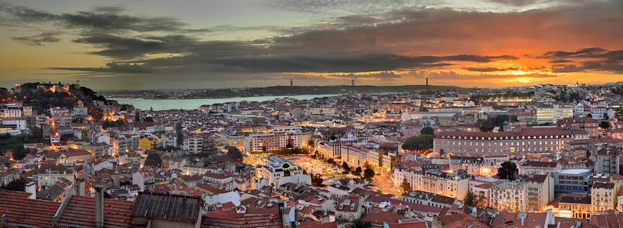 Nossa Senhora do Monte view at sunset, view over Lisbon downtown , the Tagus River, to the other side