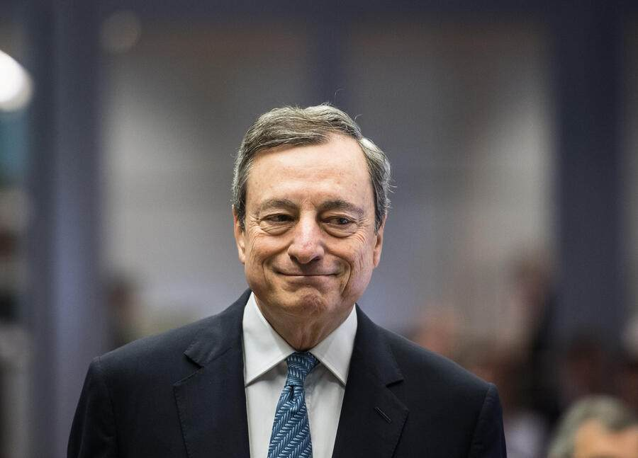 Mario Draghi, president of the European Central Bank (ECB), attends the central, eastern and south-eastern European economies (CESEE) conference at the ECB headquarters in Frankfurt, Germany, on Wednesday, June 12, 2019. International Monetary Fund leader Christine Lagarde called on governments to de-escalate current trade disputes and instead work to fix the global system. Photographer: Andreas Arnold/Bloomberg