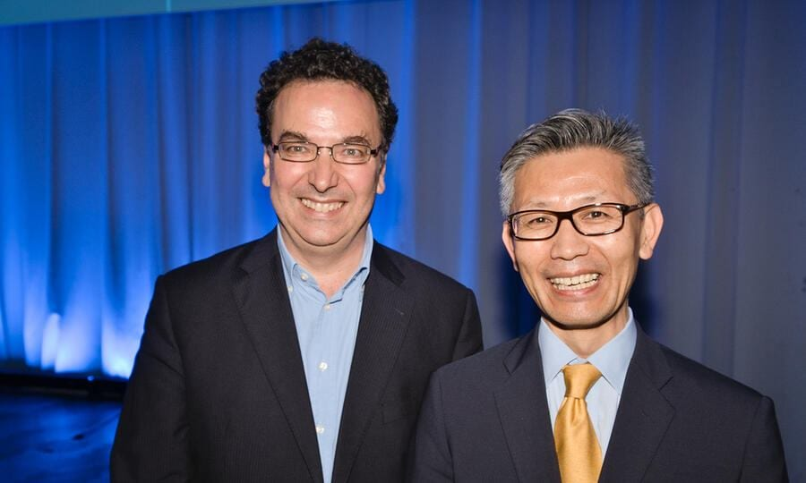 Alessandro Curiani, Vice President Europe and Director, IBM Research Zürich; Caleb Lee, Vice President, Head of Corporate Affairs Europe, Samsung Electronics