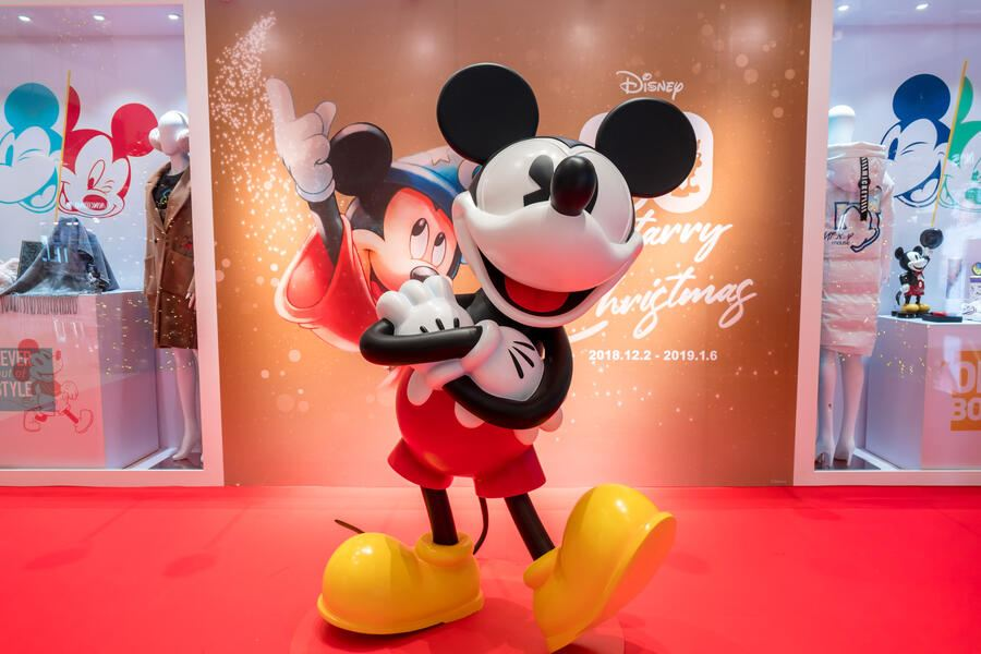 SHANGHAI, CHINA - DECEMBER 03: Christmas decorations with the theme of Mickey Mouseâs 90th Anniversary are seen at ifc mall on December 3, 2018 in Shanghai, China. Although Christmas is not widely celebrated as religious holiday in China, many of the traditions from the holiday and other western festivals have become increasingly popular with the Chinese people. (Photo by VCG/VCG via Getty Images)