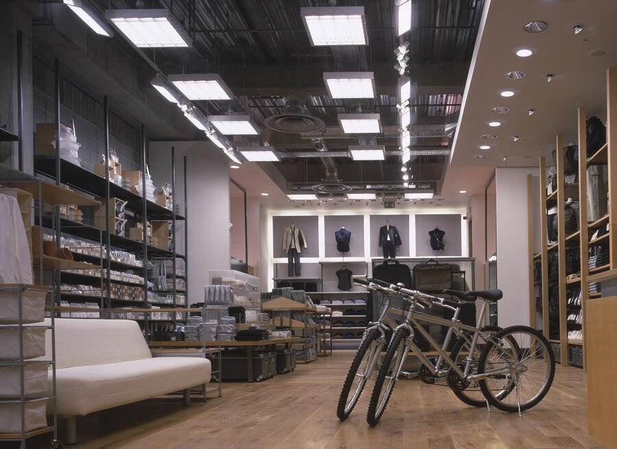 Muji Store, Bluewater, United Kingdom, Architect Mcdaniel Woolf, Muji Store Architects: Mcdaniel Woolf. March 1999. View To Rear With Bikes.. (Photo by View Pictures/UIG via Getty Images)