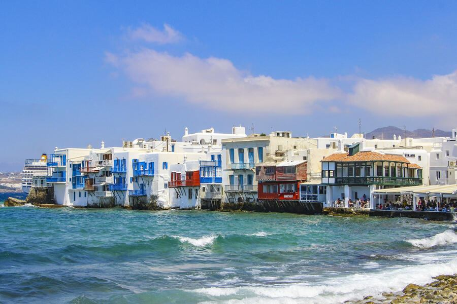 Famous pictorial waterfront of Little Venice in Mykonos town. Little Venice is one of the most romantic places in Mykonos island, that belongs to Cyclades islands, Greece. (Photo by Nicolas Economou/NurPhoto via Getty Images)