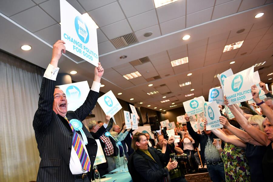 HUDDERSFIELD, ENGLAND - MAY 13: Nigel Farage speaks during a Brexit Party rally at the John Smith's Stadium on May 13, 2019 in Huddersfield, England. Nigel Farage, the former leader of the U.K. Independence Party, is campaigning for the Brexit Party's contest for this month's European Parliament elections, whose candidates include Annunziata Rees-Mogg. Despite voting to leave the European Union in 2016 Britain is braced to take part in the European Parliament election on May 23