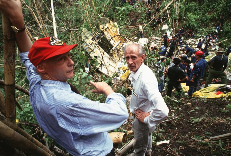 KANCHANABURI, THAILAND - 1991/05/01: Nicki Lauda visits the crash site where one of the planes from Lauda Air crashed in the jungles of western Thailand with no survivors.. (Photo by Peter Charlesworth/LightRocket via Getty Images)