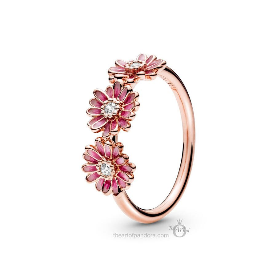 Pandora Rose pink daisy flower trio ring