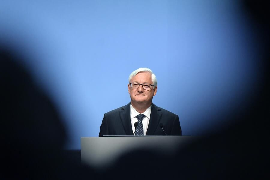 Peter R. Voser, Chairman and interim CEO of ABB Ltd., speaks during the company's annual shareholder meeting in Zurich, Switzerland, 02 May 2019. (KEYSTONE/Walter Bieri)