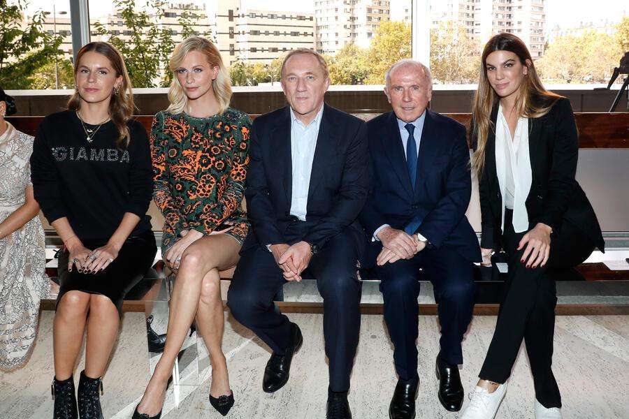 PARIS, FRANCE - OCTOBER 01:  (L-R) Eugenie Niarchos, Poppy Delevingne, CEO of Kering Group, Francois-Henri Pinault, his father Francois Pinault and Bianca Brandolini d'Adda attend the Giambattista Valli show as part of the Paris Fashion Week Womenswear Spring/Summer 2019 on October 1, 2018 in Paris, France.  (Photo by Bertrand Rindoff Petroff/Getty Images)