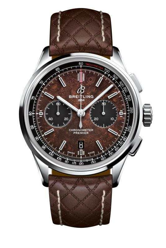 Premier B01 Chronograph 42 Bentley Centenary Limited Edition in stainless-steel with brown elm burl dial and brown Bentley-inspired leather strap