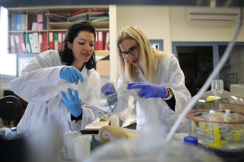 Professor Ester Segal (right) und student Lia Baumann (left) cut out a piece of film for the NanoPack project, in a laboratory in the Faculty of Biotechnology and Food Engineering at the Technion in Haifa, March 03, 2019.