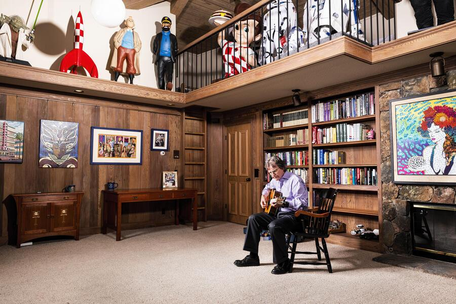 """Roger McNamee, venture capitalist and musician, at his home in Silicon Valley.  An early investor in Facebook and advisor to Zuckerberg he has now become one of the biggest critics of the company. In his just released book """"Zucked: Waking Up to the Facebook Catastrophe"""" he tells the story of the social media platform and how it's become a danger to democracy."""