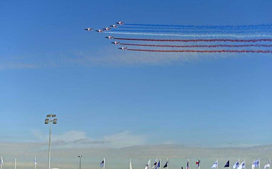 PARIS, FRANCE - JUNE 17: Alpha jets from the French Air Force Patrouille de France fly during the 53rd International Paris Air Show at Le Bourget Airport near Paris, France on June 17, 2019. (Photo by Mustafa Yalcin/Anadolu Agency/Getty Images)