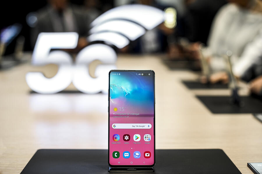 Samsung Galaxy S10+, exhibited during the Mobile World Congress, on February 25, 2019 in Barcelona, Spain.  (Photo by Joan Cros/NurPhoto via Getty Images)