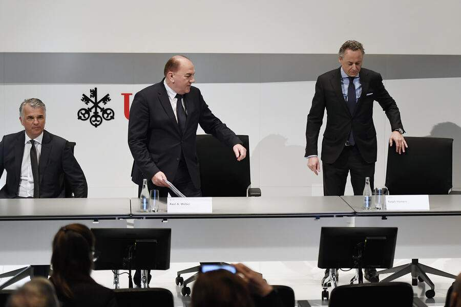 Sergio Ermotti, left, CEO of Swiss Bank UBS, Axel A. Weber, Center, Chairman of the Board of Directors of UBS and Ralph Hamers, right, new CEO of Swiss Bank UBS, during a press conference in Zurich, Switzerland, Thursday, February 20, 2020. Dutchman Ralph Hamers will replace Sergio Ermotti, who is still UBS boss, on November 1, 2020. (KEYSTONE/Walter Bieri)
