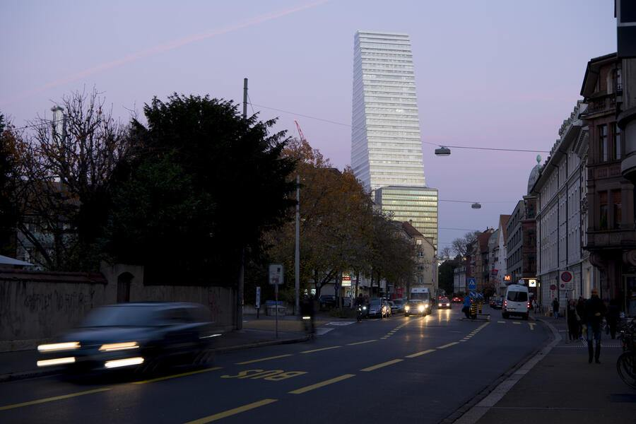 The Roche Tower (building 1), by architects Herzog & de Meuron, photographed at the eve of November 14, 2017, in Basel, Switzerland. The Roche tower is the headquarters of the pharmaceutical company Hoffmann-La Roche. It was finished on September 18th, 2015. (KEYSTONE/Anthony Anex)