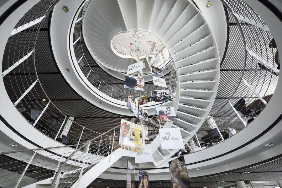 The staircase at Sonova in Staefa, Canton of Zurich, Switzerland, on September 14, 2015. The Swiss company Sonova specializes in hearing systems. (KEYSTONE/Christian Beutler)