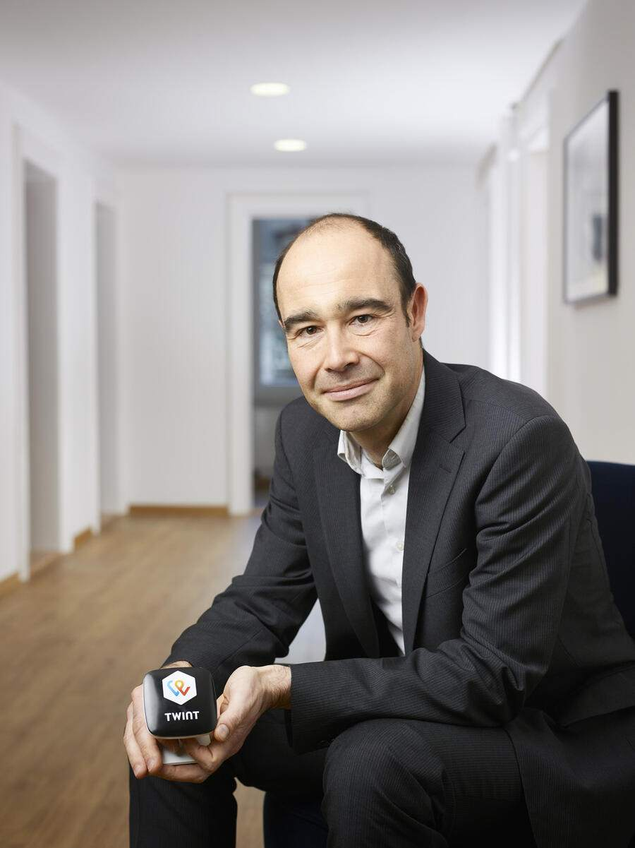 Portrait of Thierry Kneissler, CEO of financial technology company Twint, pictured at the company's headquarters in Zurich, Switzerland, on March 21, 2018. (KEYSTONE/Christian Beutler)Thierry Kneissler, CEO des Finanztechnologie-Unternehmens Twint, portraitiert am 21. Maerz 2018 am Hauptsitz des Unternehmens in Zuerich. (KEYSTONE/Christian Beutler)