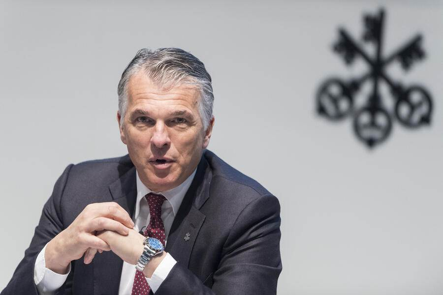 Sergio Ermotti, CEO of Switzerland's bank UBS, speaks during a press conference in Zurich, Switzerland, Tuesday, January 22, 2018.  (KEYSTONE/Ennio Leanza).